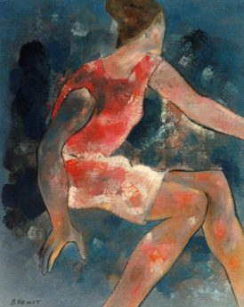 1968 - Femme en rouge avec chignon